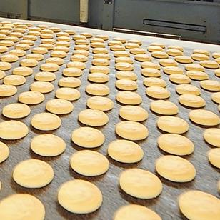 production line of cookies on industrial food conveyor belt